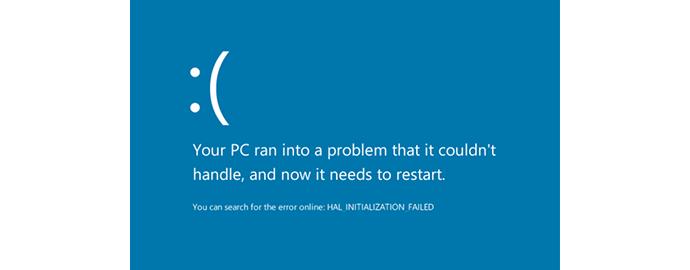 schermata blu crash